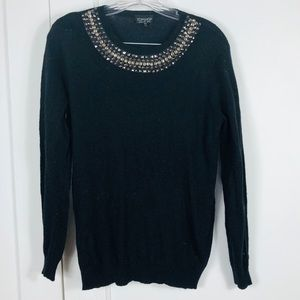 Topshop Studded Embellished Collar Sweater